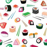 Sushi asian food seamless set Royalty Free Stock Images