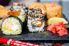 Sushi assorted on the table stock image