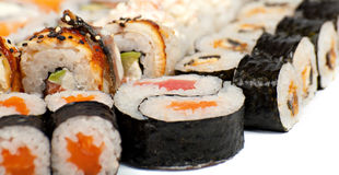 Sushi in the assortment royalty free stock photo