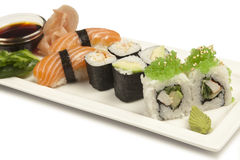 Sushi assortment. Isolated on white Royalty Free Stock Photos
