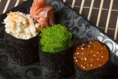 Sushi assortment with crab, green and red caviar Stock Photography