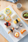 Sushi Assortment On a Dish, close up Stock Image