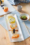 Sushi Assortment On a Dish, close up Stock Photos