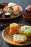 Sushi Assortment On a Dish, close up Royalty Free Stock Photography