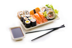 Sushi assortment on white background. Stock Photo
