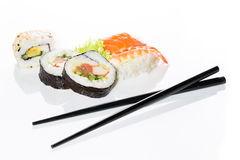 Sushi assortment on white background. Stock Photos