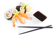 Sushi assortment on white background. Stock Photography