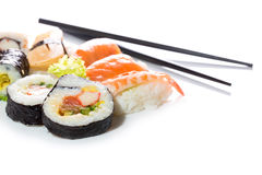 Sushi assortment on white background. Royalty Free Stock Photos