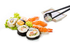 Sushi assortment on white background. Royalty Free Stock Images