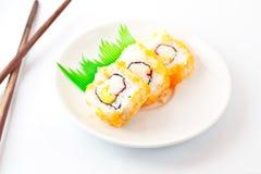 Sushi Assortment On White Dish. Stock Photos