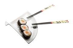 Sushi auf einer Platte Lizenzfreies Stockbild