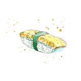 Sushi av en omelett Japansk kokkonst royaltyfri illustrationer
