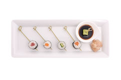 Sushi avec de la sauce Photographie stock