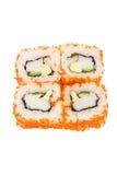 Sushi avec l'avocat et le caviar Images libres de droits