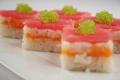 Sushi avec le thon et les saumons Photographie stock libre de droits