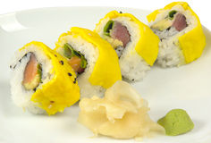 Sushi avec les oeufs brouillés Images libres de droits