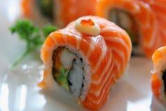 Sushi avec les saumons et la langoustine Photos libres de droits