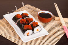 Sushi avec Roy saumoné, horizontal Photos stock