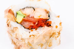 Sushi with avocado, fish and red caviar Royalty Free Stock Photo
