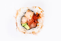 Sushi with avocado, fish and red caviar top view Royalty Free Stock Photo