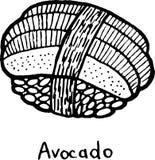 Sushi Avocado - sketch illustration. Nigiri with the avocado and rice. Japanese seafood. Vector illustration.  royalty free illustration