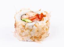 Sushi-avocado, vissen en rode kaviaar Royalty-vrije Stock Afbeelding