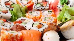Sushi background. Sushi. Traditional Japanese food Sushi. Grey background. Sushi collection. 9:16 screen Stock Photos