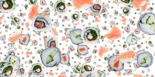 Sushi background (on white) stock photo