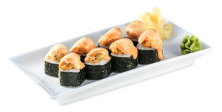 Sushi Baked Roll plate isolated on white Stock Photos
