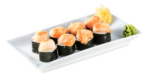 Sushi Baked Roll plate isolated on white Stock Image