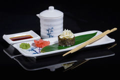 Sushi on bamboo leaf Royalty Free Stock Images