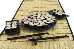 Sushi on a bamboo mat Stock Image