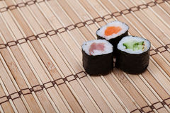 Sushi on bamboo mat Stock Photo