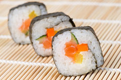 Sushi on bamboo mat Royalty Free Stock Photos