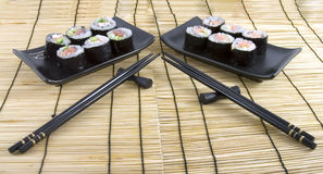 Sushi on a bamboo mat background Stock Image