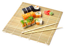 Sushi on the bamboo mat Stock Images