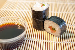 Sushi on bamboo mat Stock Image