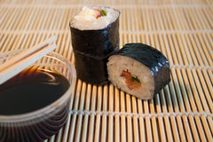 Sushi on bamboo mat Stock Photos