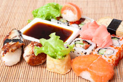 Sushi on bamboo napkin Royalty Free Stock Photo