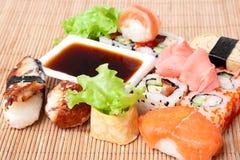 Sushi on bamboo napkin. Sushi. Traditional Japanese food Sushi. Bamboo napkin background. Sushi collection Royalty Free Stock Photo