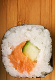 Sushi on a bamboo plate Stock Image