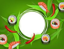 Sushi banner with rolls, ebi nigiri and chili pepper isolated on green background. royalty free illustration