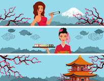 Sushi banner with womans. Stock Image
