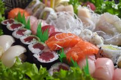 Sushi bar. This is a close up view of a Japanese dish including several pieces of sushi Stock Photos