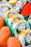 Sushi bar. Japanese Cuisine Sushi Set Background Stock Photography
