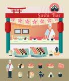Sushi bar cartoon vector illustration Royalty Free Stock Photography