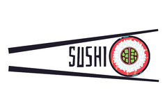 Sushi bar food logo vector template. Fresh roll element illustration Stock Images