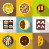 Sushi bar icon set, flat style Royalty Free Stock Photography