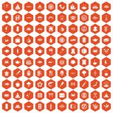 100 sushi bar icons hexagon orange. 100 sushi bar icons set in orange hexagon isolated vector illustration Royalty Free Stock Image