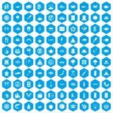 100 sushi bar icons set blue. 100 sushi bar icons set in blue hexagon isolated vector illustration Stock Illustration
